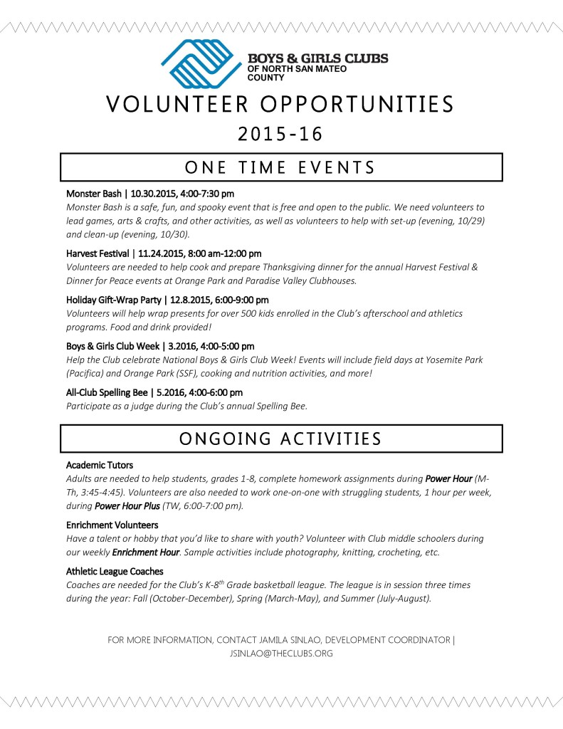 BGCNSMC Volunteer Opportunities 2015-16